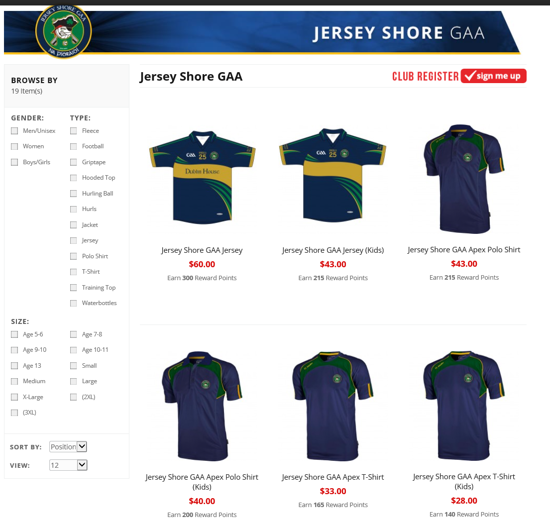 Jersey Shore GAA shop